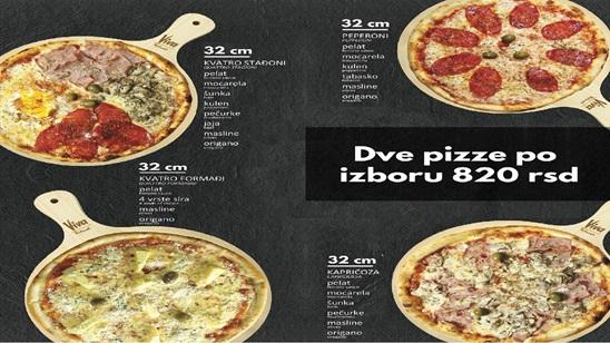 Dve pizze po izboru na Splavu Viva!